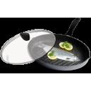 STONELINE Тиган XXL за шницели и риба със стъклен капак (35 х 24 см)